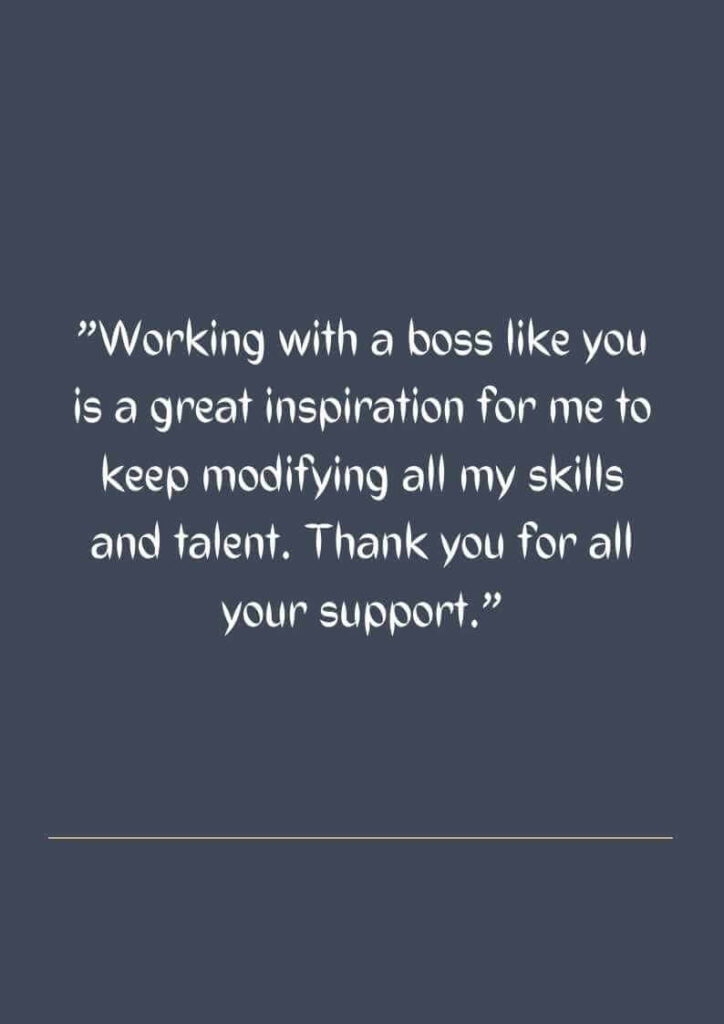 thanks letter to boss for appreciation